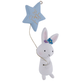 Blue Bunny Baby's First Christmas Ornament