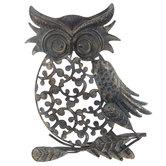 Antique Blue Cutout Owl Metal Wall Decor
