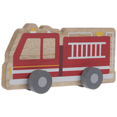 Fire Truck With Wheels Wood Decor