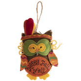 Owl Happy Fall Y'all Ornament