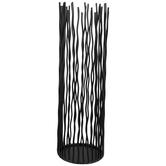 Black Wavy Poles Metal Candle Holder - Large