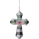 Buffalo Check Floral Cross Ornament