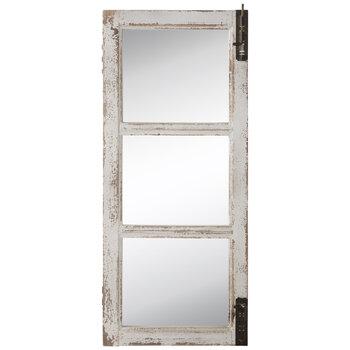 Distressed White Door Wood Wall Mirror