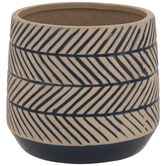 Tan & Navy Herringbone Flower Pot