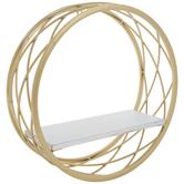 Gold & White Circle Metal Wall Shelf