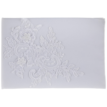 White Embroidered Floral Guest Book
