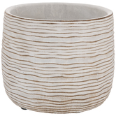 White & Tan Wavy Striped Flower Pot