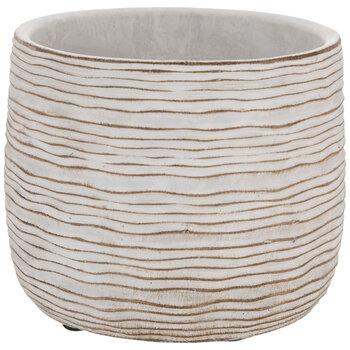 White & Tan Wavy Striped Flower Pot