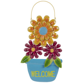 Welcome Flower Pot Metal Wall Decor