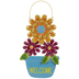 Blue Welcome Flower Pot Metal Wall Decor