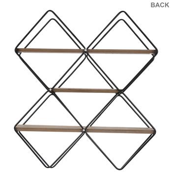 Diamond X Three-Tiered Wood Wall Shelf