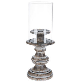 Washed Gray Candle Holder