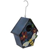 Blue Bee & Flowers Metal Birdhouse
