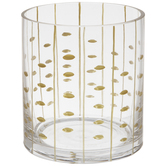 Metallic Gold Leaves Glass Candle Holder