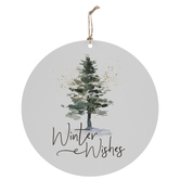 Winter Wishes Wood Wreath Embellishment