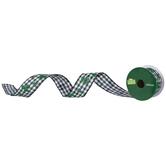 "Glitter Shamrock Buffalo Check Wired Edge Ribbon - 1 1/2"""