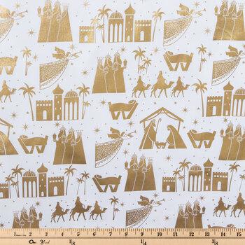 White & Gold Foil Nativity Cotton Fabric