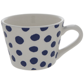 White & Blue Polka Dot Mug