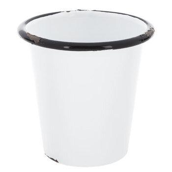 White Distressed Metal Flower Pot