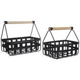 Matte Black Woven Metal Basket Set