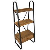 Brown & Metal Wood Three-Tiered Shelf