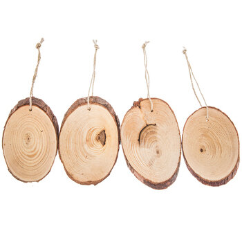 Wood Ovals With Bark & Rope Hangers