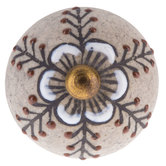 Gray Flower Round Knob