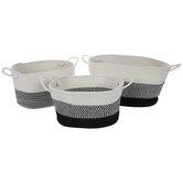 Black & White Striped Oval Basket Set