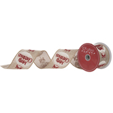 Merry Christmas Ornament Wired Edge Burlap Ribbon - 2 1/2""