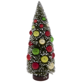 Flocked Bottle Brush Tree With Ornaments