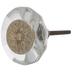 Round Faceted Knob With Carved Flower