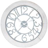 Blue & White Distressed Wood Clock