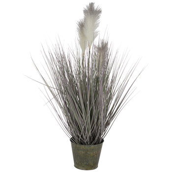 Reed Grass In Metal Pot