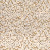 White & Gold Damask Fabric