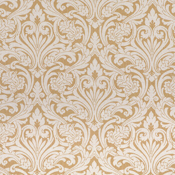White & Gold Damask Fabric