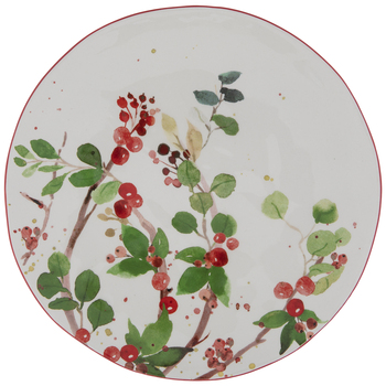 Green & Red Holly Berries Plate
