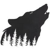 Black Wolf Head Metal Wall Decor