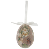Bunnies & Flowers Sugared Egg Ornament