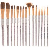 Brown Taklon Paint Brushes - 15 Piece Set