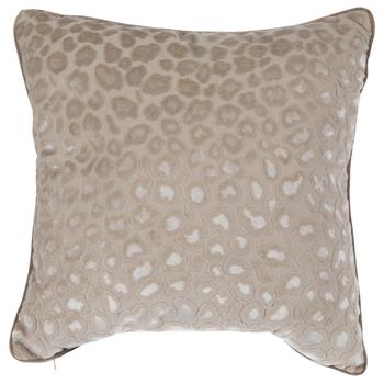 Taupe Velvet Leopard Print Pillow