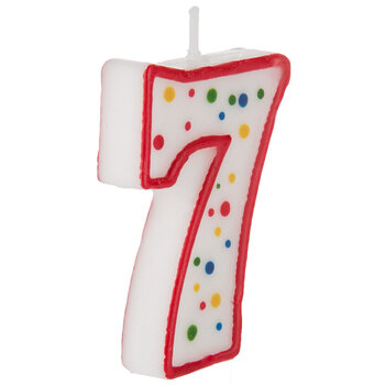 Red & White Number Birthday Candle with Dots - 7