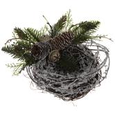 Flocked Birds Nest With Pinecones