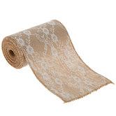 "Cream Lace & Burlap Ribbon - 5 1/2"""