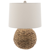 Woven Seagrass Ball Lamp