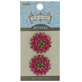 Olive & Fuchsia Rhinestone Flower Shank Buttons - 27mm