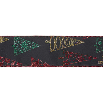 """Glitter Christmas Trees Wired Edge Ribbon - 2 1/2"""""""