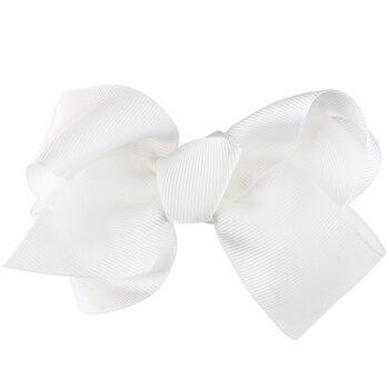White Grosgrain Bow Clip