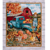 Teal Truck On Farm Cotton Fabric Panel