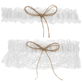 Lace With Jute Bows Garters