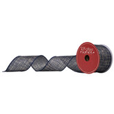 """Navy & Gold Wired Edge Ribbon - 2 1/2"""""""